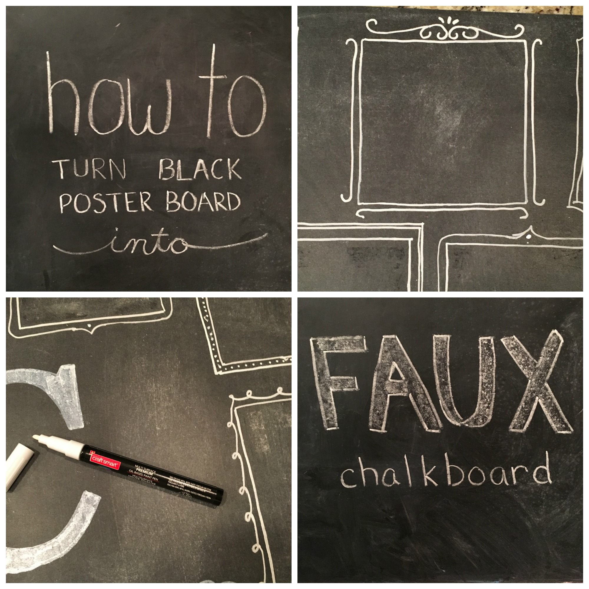 How To Turn Poster Board Into A Faux Chalkboard From The Family With Love Link