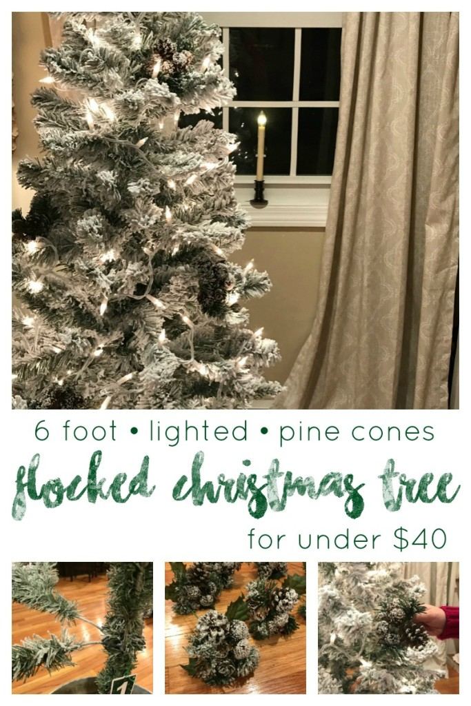 DIY how to 6 foot Flocked Christmas Tree with lights and pinecones for under $40 DIY From the Family With Love