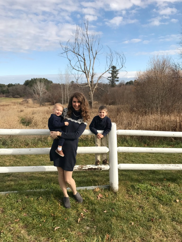 Navy and Grey Sweater Dress From the Closet Grey Booties Tommy Hilfiger Gap Kids Navy Baby Gap From the Family With Love