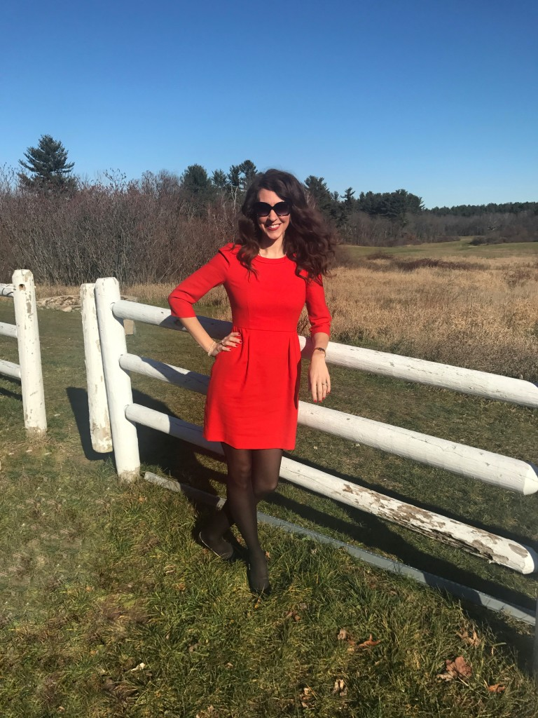 Red J Crew Dress Black Tights Black BCBG patent leather pumps Kate Spade Sunglasses From the Closet OOTD From the Family With Love Christmas Outfit