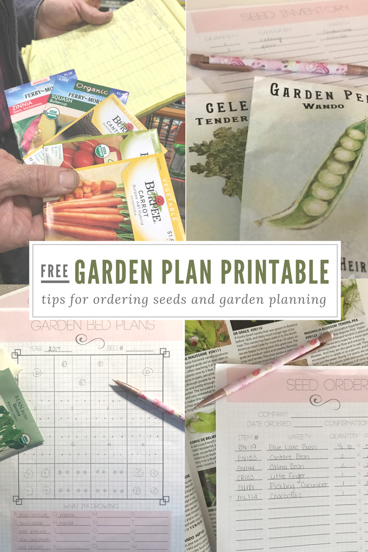 Free Garden Plan Printable Planner, Seed Order, Seed Inventory, Square Foot Garden Plan, Patio Garden Plan - From the Family With Love