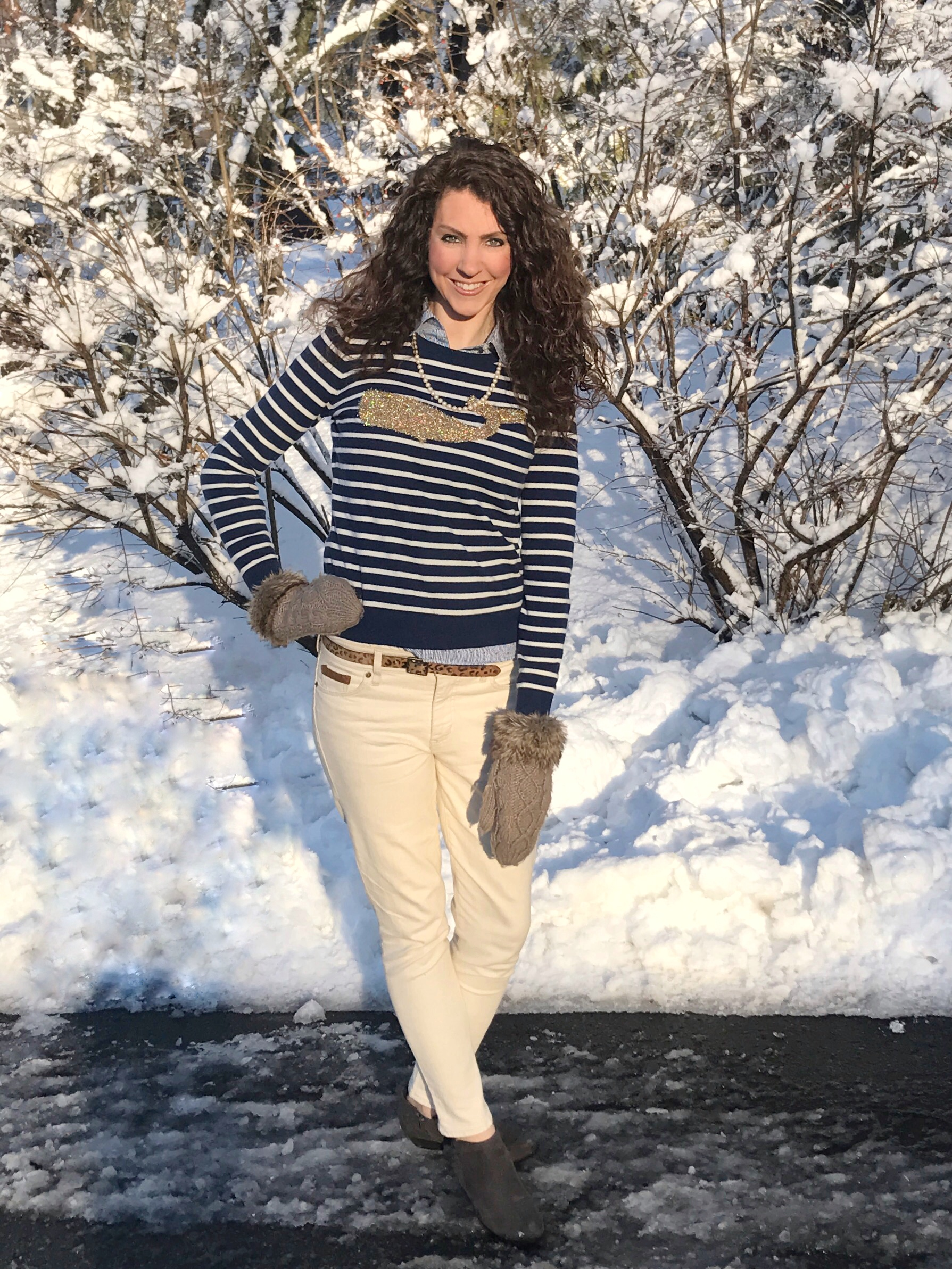 Talbots Whale Sweater and Ivory Ralph Lauren Jeans with Jack Rogers Booties. From the Closet - From the Family With Love