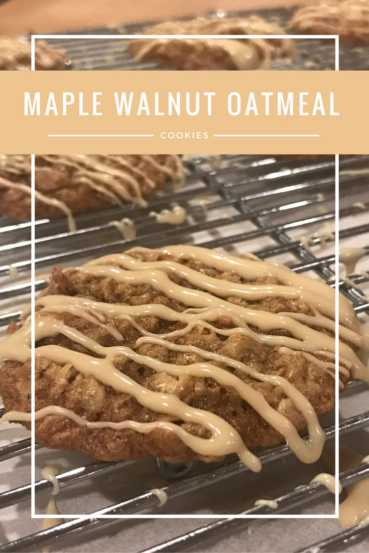 Maple Walnut Oatmeal Cookies recipe with Maple glaze frosting - From the Family with Love