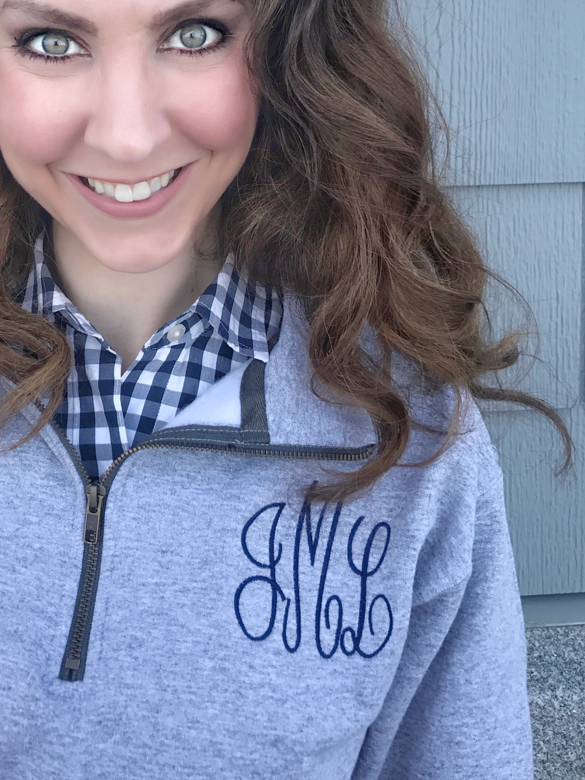 Grey monogrammed Jane pullover, navy gingham Vineyard Vines button up shirt, navy Hunter rain boots - February beach day in New England - From the Closet - From the Family with Love