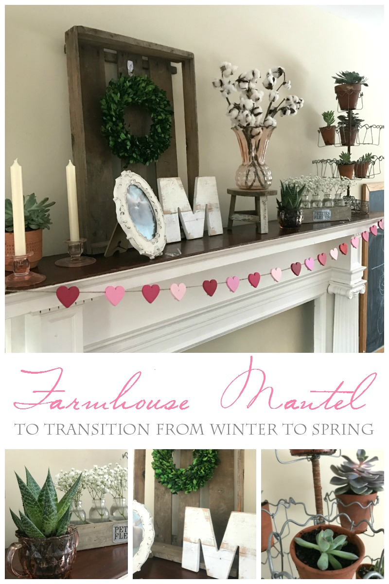 Winter to Spring transitional mantel Farmhouse decor, succulents, terra cotta, pink depression glass, Magnolia Market, Harp Designs, boxwood wreath, monogram, baby's breath, farmhouse mantel - From the Family With Love