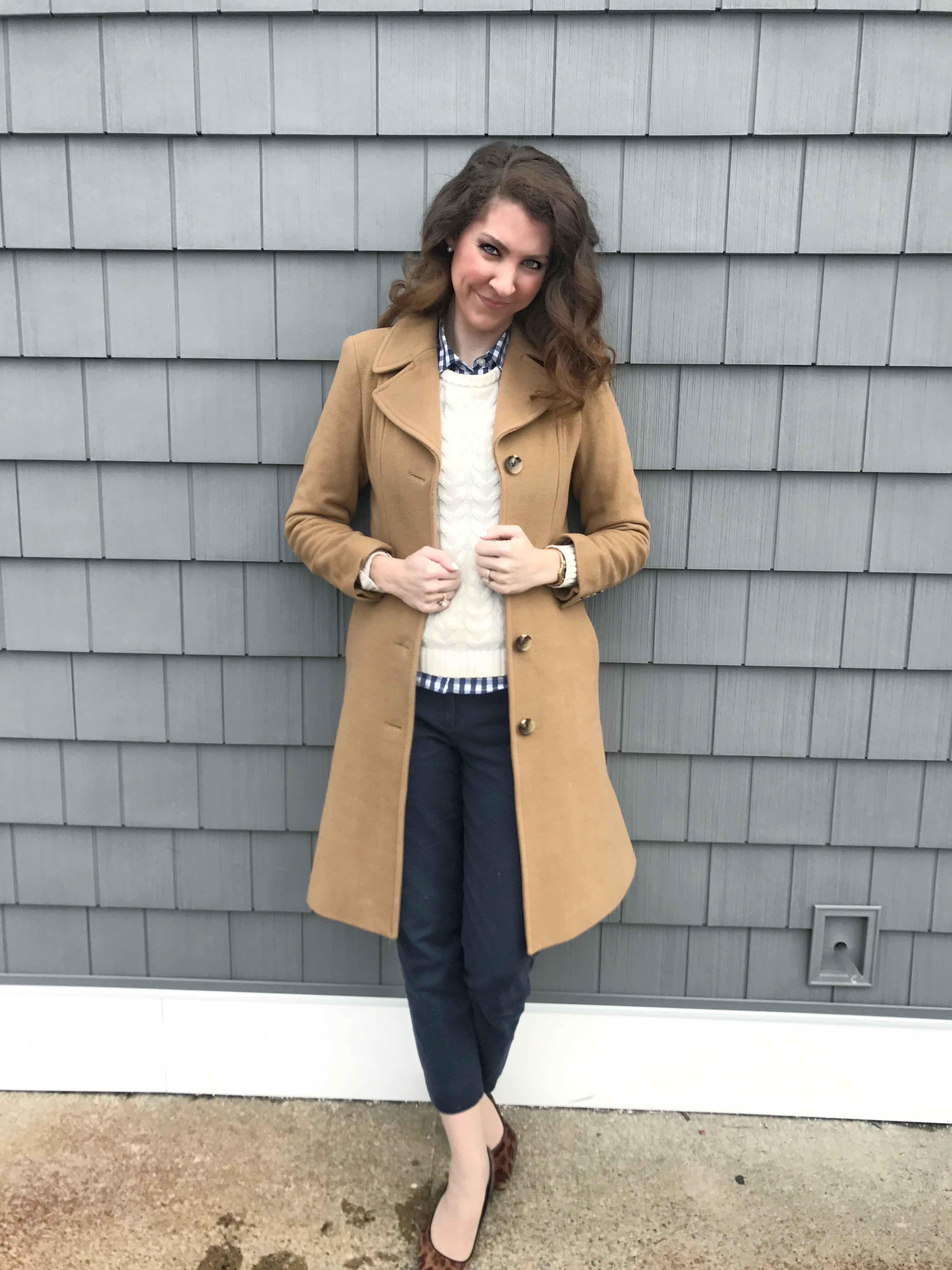 Navy gingham button up, ivory cable sweater, navy cropped ankle pants, leopard heels, camel colored coat, Anne Klein, Lands End, Vineyard Vines, Gap - From the Family With Love