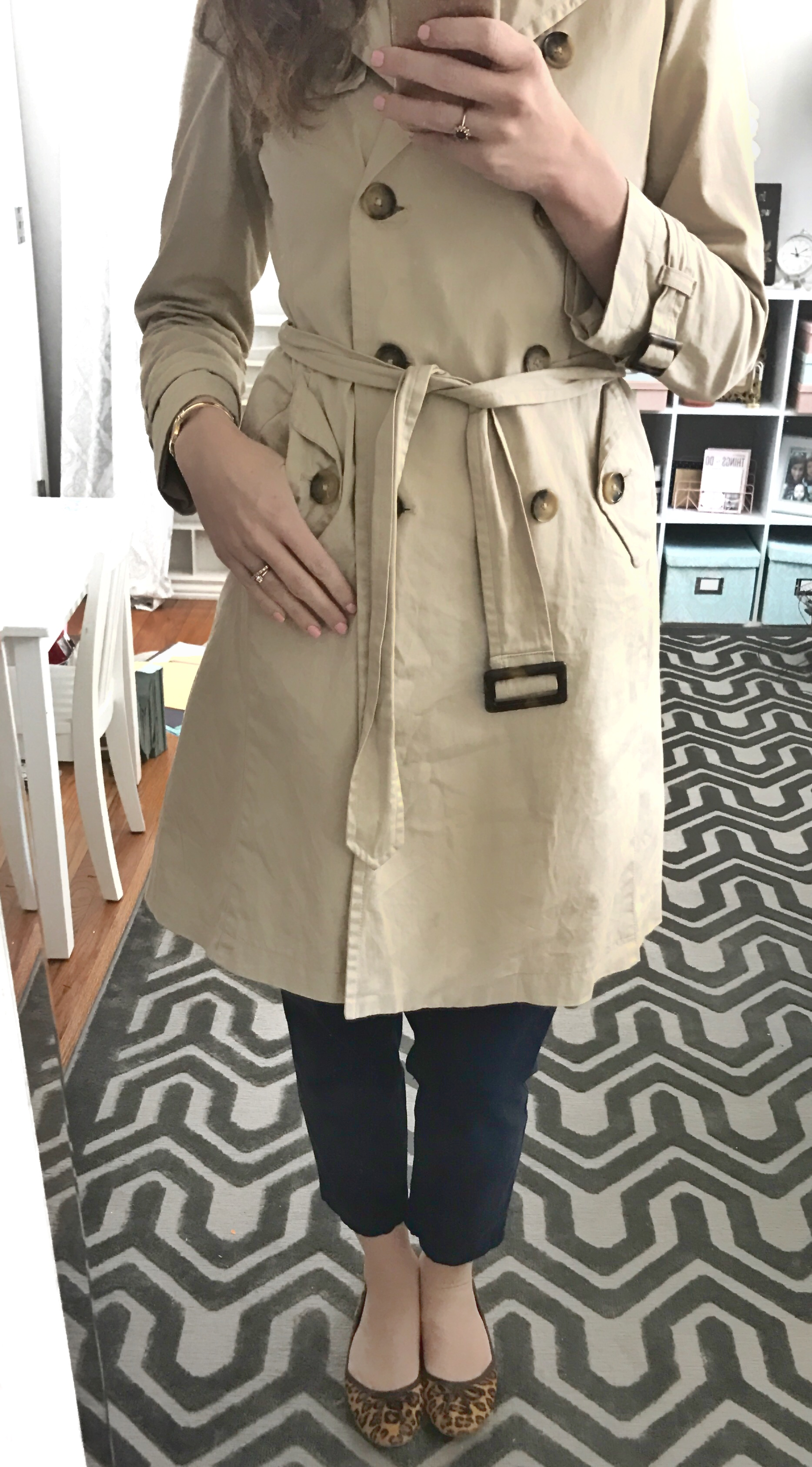 Banana Republic Trench coat, Gap navy cropped pants, leopard flats - From the Family with Love