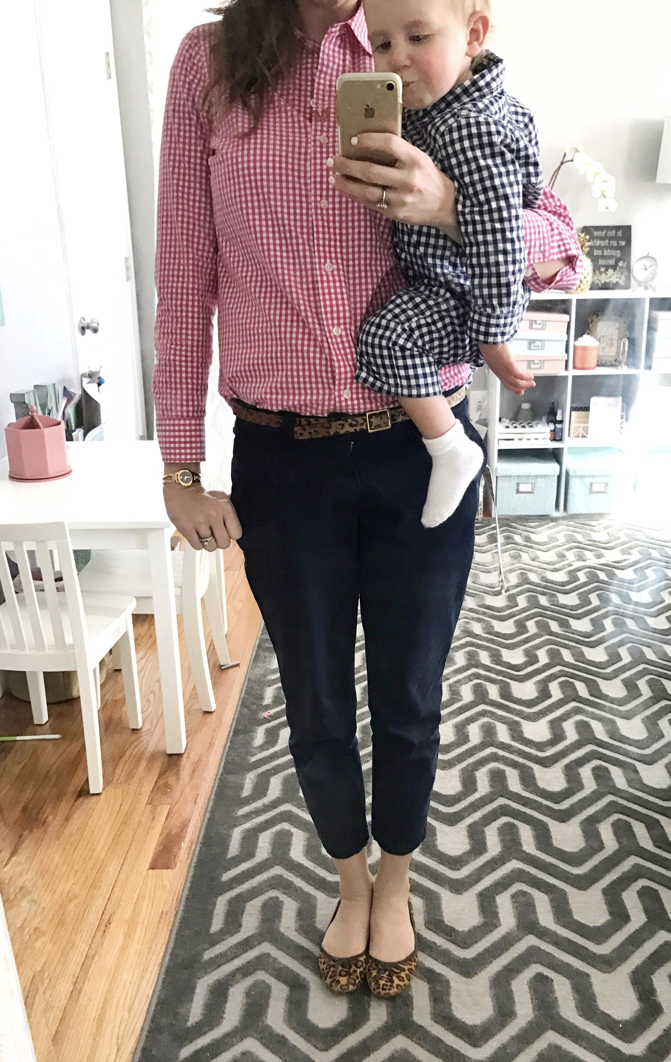 Vineyard Vines hot pink gingham button down, Gap navy cropped pants, leopard belt, leopard flats, Ralph Lauren navy gingham baby coverall - From the Family with Love