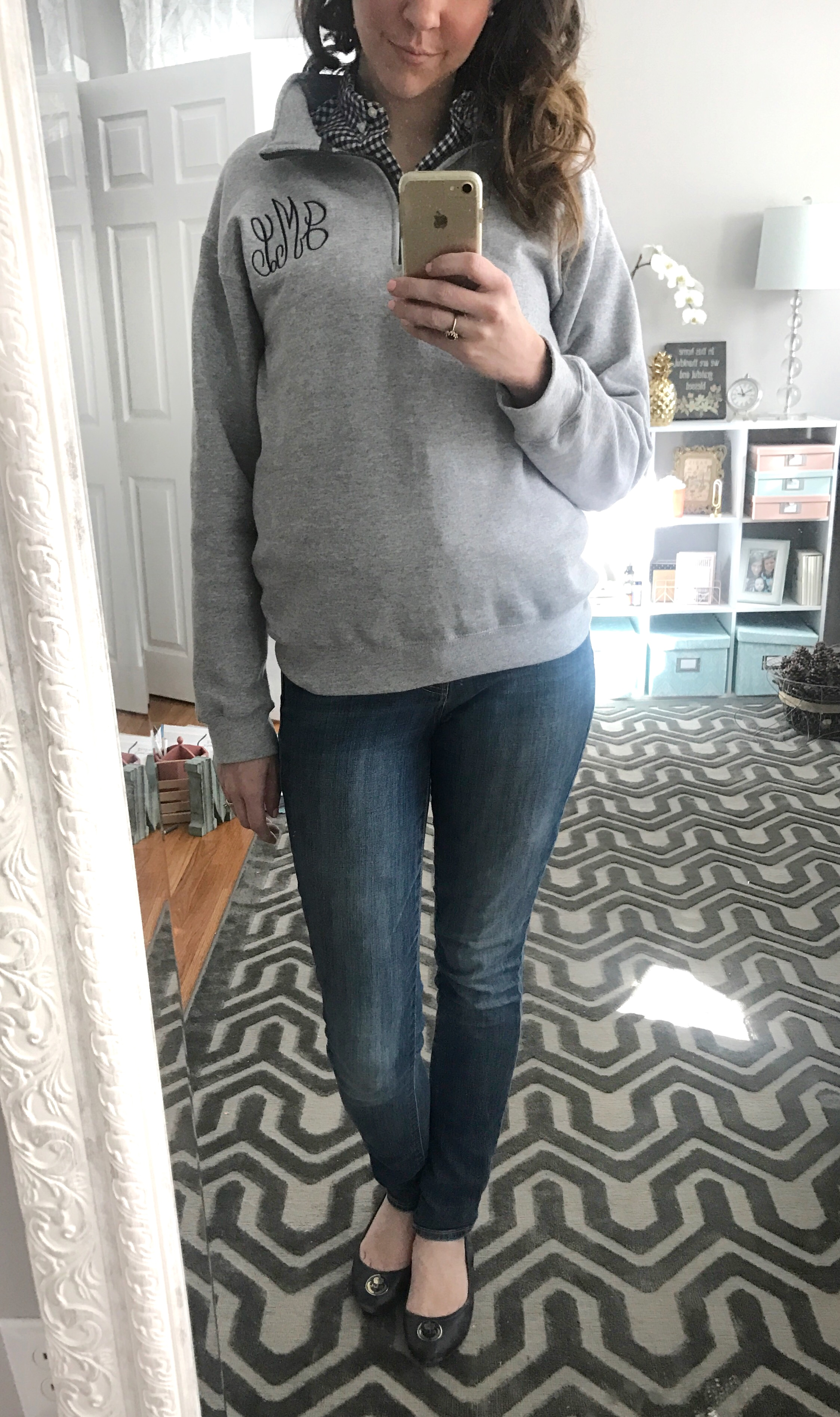 grey and navy preppy monogrammed pullover, Old Navy Jeans, Ralph Lauren navy ballet flats - From the Family with Love