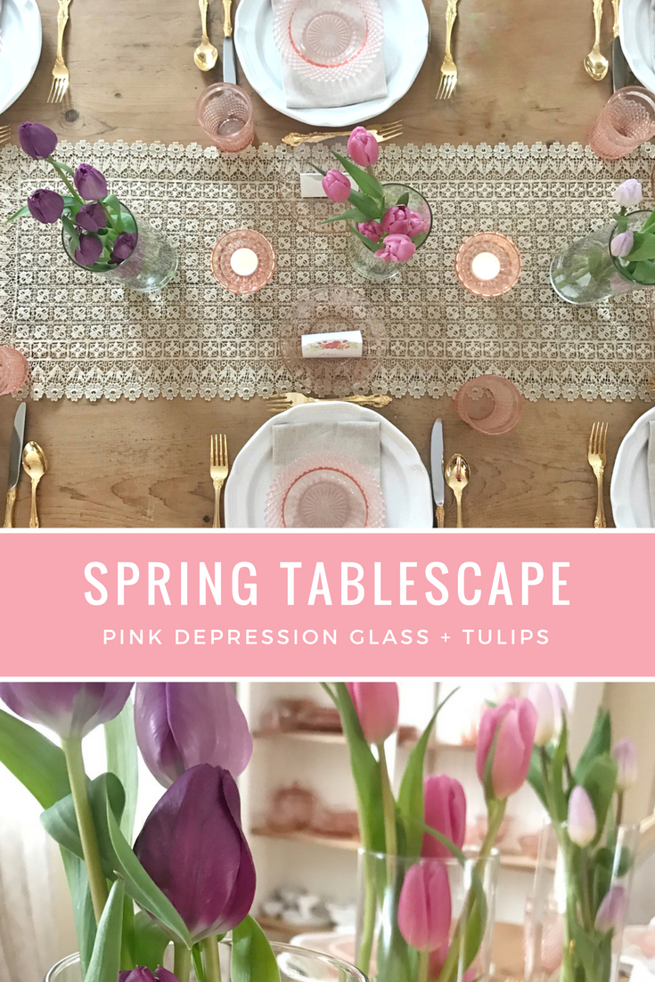 Spring Brunch Tablescape with Tulips and Pink Depression glass (Miss America Pink Depression Glass, French Countryside Mikasa) Easter, Mother's Day - From the Family with Love