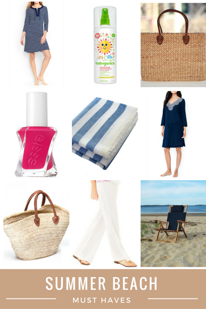 Midweek Must Haves Summer Beach Roundup From the Family With Love - Land's end cover up, babyganics sunscreen, basket beach bags, Deck Towel, Lily Pulitzer linen beach pants, Cape Cod beach chair