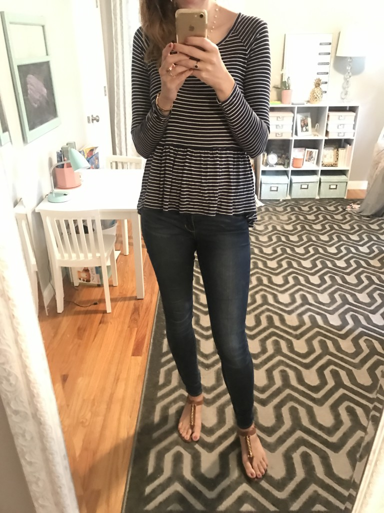 navy stripe peplum top, Articles of Society jeans outfit - From the Mirror - From the Family With Love