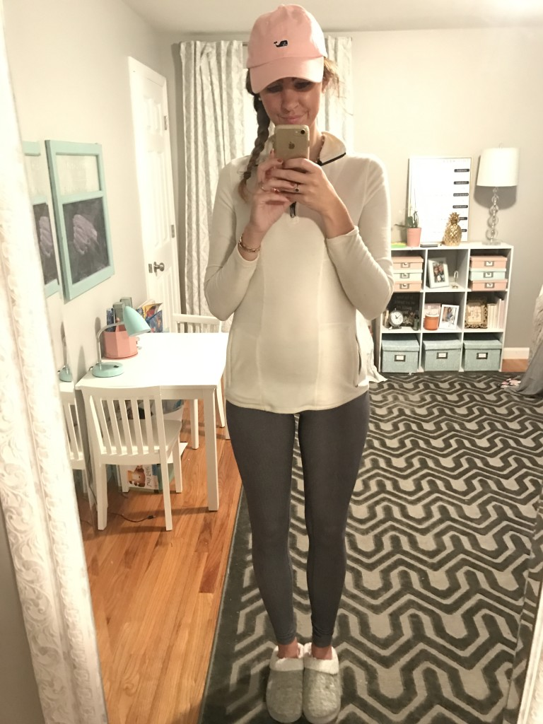 Land's end ivory quarter zip fleece, grey yoga pants, vineyard vines pink baseball hat, grey fur slippers - From the Mirror - From the Family With Love