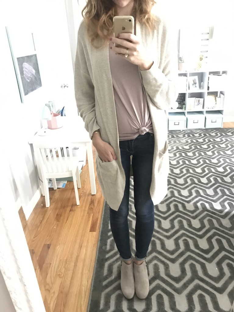 Nordstrom BP cardigan sweater, Articles of Society jeans, Sam Edelman taupe booties outfit - From the Mirror - From the Family With Love