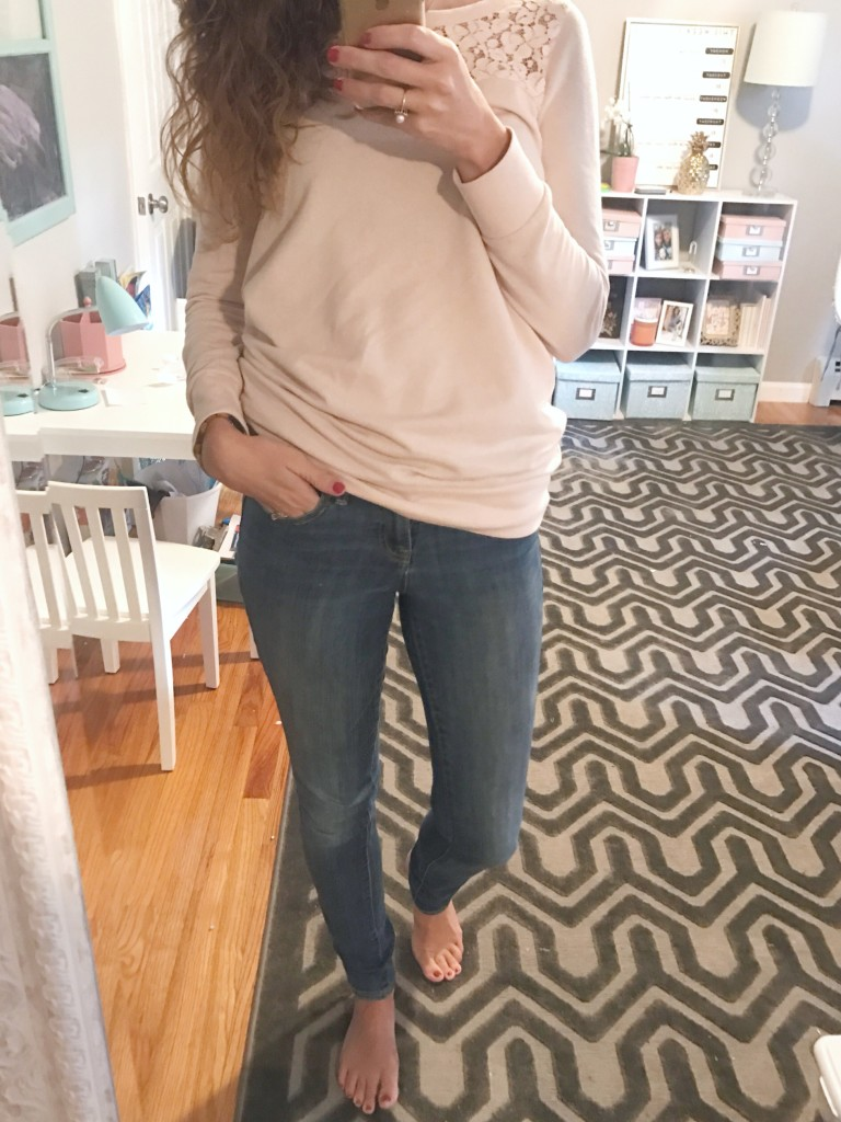 blush sweatshirt, articles of society jeans, denim, mom fashion, fall fashion, lace, outfit - From the Mirror - From the Family With Love
