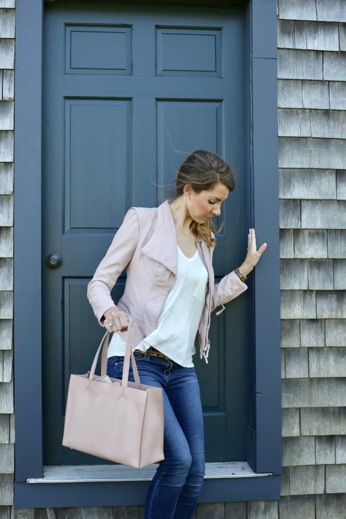 Blush Moto Jacket Fall Layering Staple - From the Closet - From the Family With Love