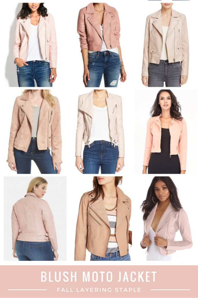 Blush Moto J aacket Fall Layering Staple - From the Closet - From the Family With Love