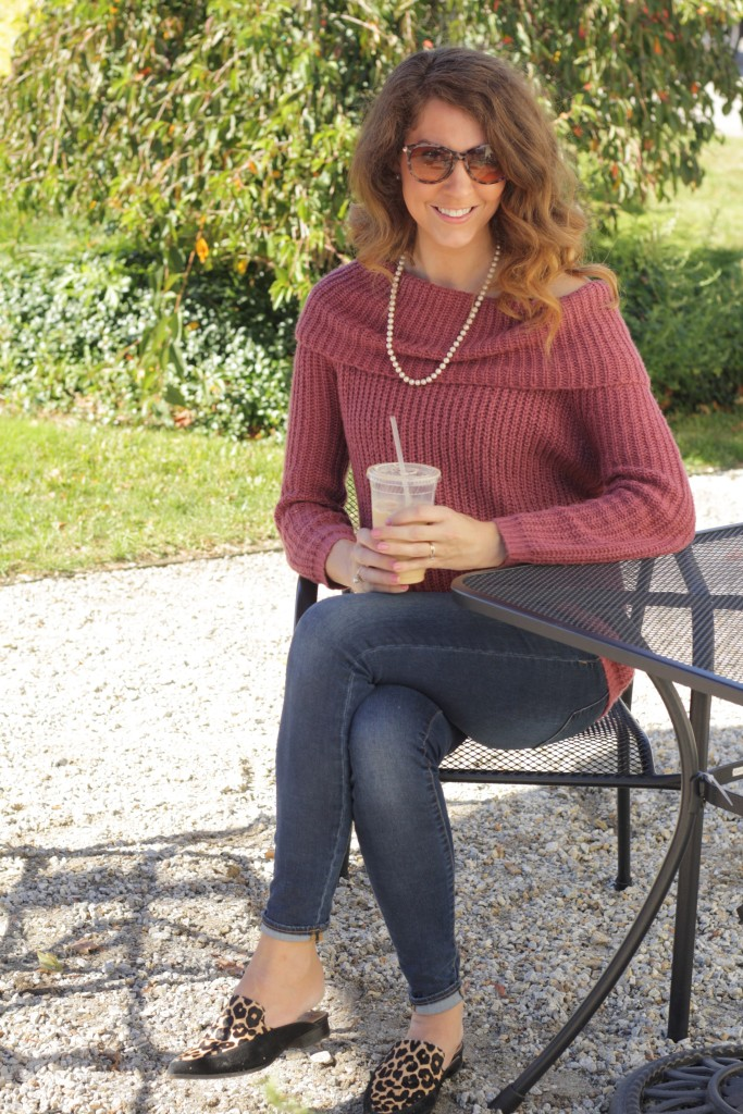 Mulberry Wine off the shoulder cowl neck sweater - From the Closet  - 9 Sweaters that aren't blush or ivory - From the Family With Love