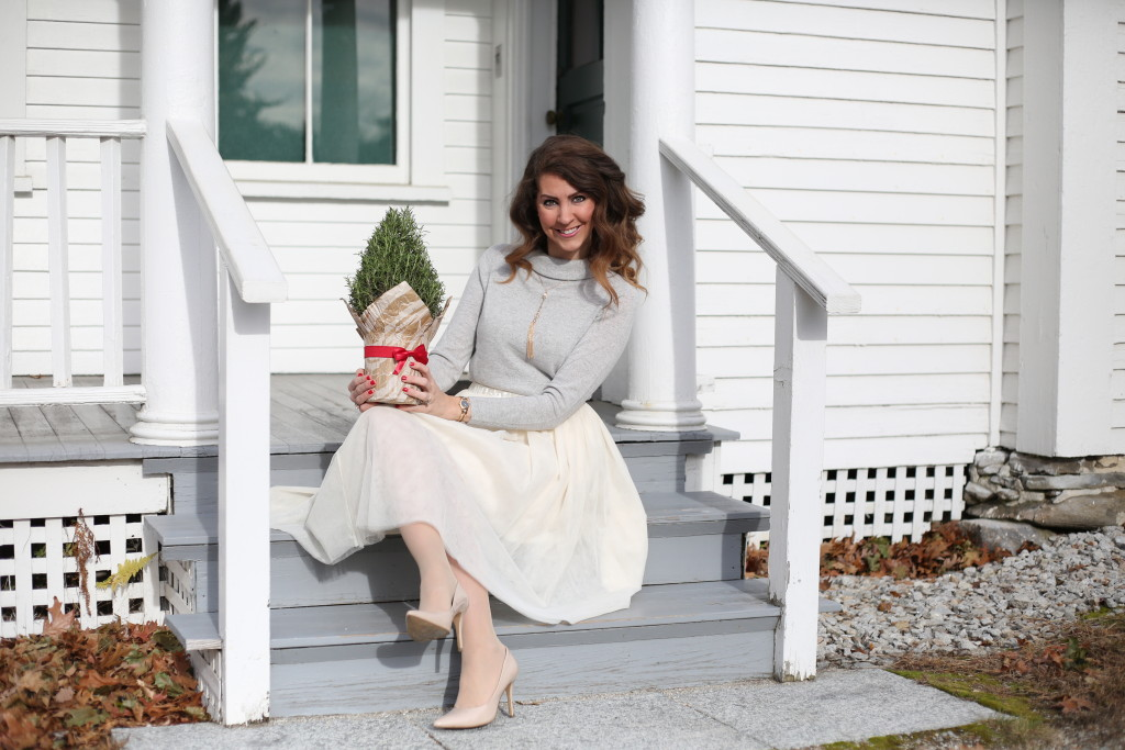 Holiday Midi Skirts - 9 Festive Favorites - Talbots Sabrina cashmere sweater, ivory tulle skirt, nude pumps, Clinique bamboo pink lipstick, Charming Charlie tassel necklace - From the Family With Love