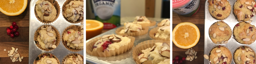 In the Kitchen with Stonyfield_ Cranberry Orange Almond Muffins - recipe - From the Family With Love