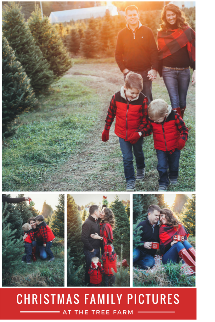 Merry Christmas family pictures 2017 - From the Family With Love - buffalo check family outfits, red Hunter boots, mistletoe, red mittens, tree farm, red vests, buffalo plaid scarf