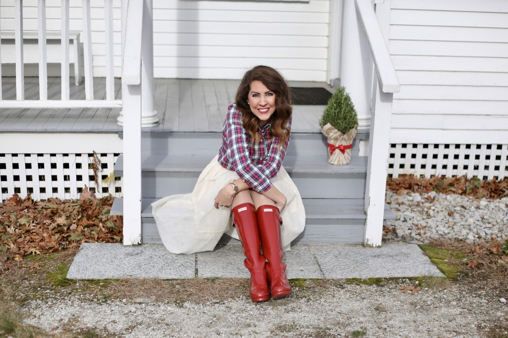 Holiday Midi Skirts - 9 Festive Favorites - red Hunter boots, Vineyard Vines Christmas plaid, ivory tulle skirt, red lips, Mac Russian Red Lipstick - From the Family With Love