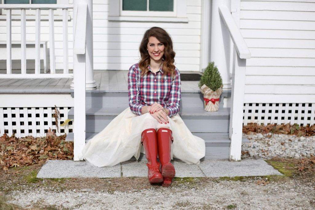 Holiday Midi Skirts - 9 Festive Favorites - red Hunter boots, Vineyard Vines Christmas plaid, red lips, Mac Russian Red Lipstick - From the Family With Love