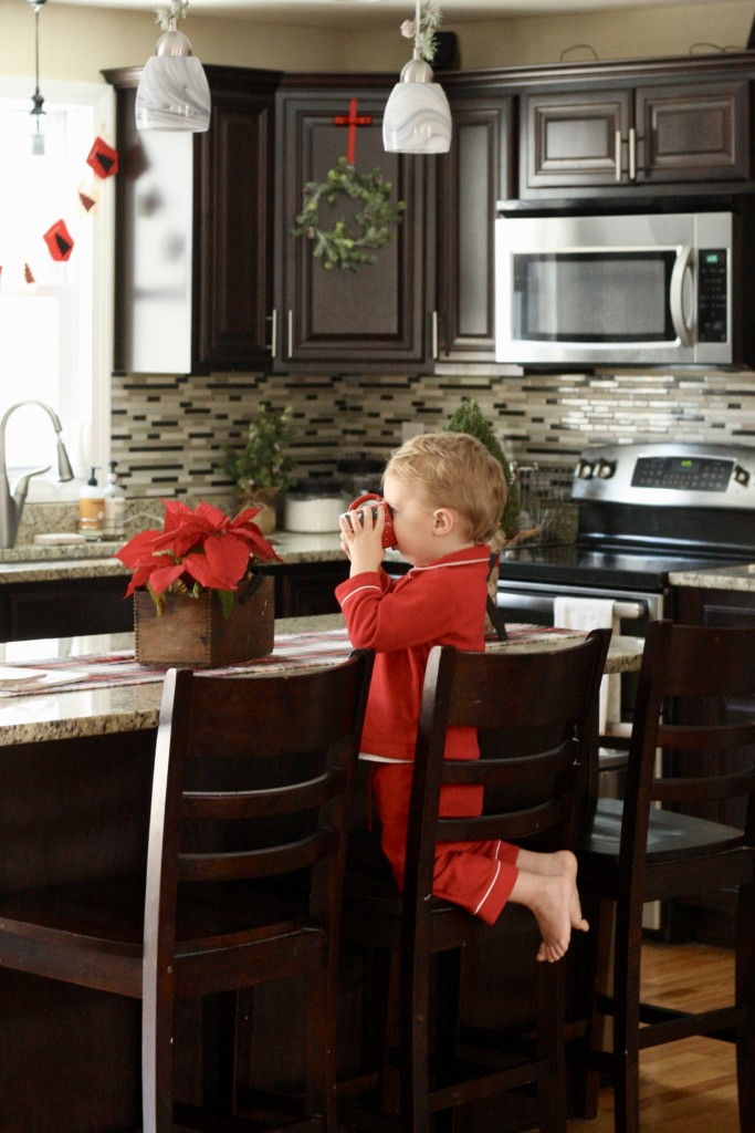 Christmas Kitchen Tour - Christmas Wreaths and Hot Cocoa - Red Pajamas - Christmas Home Tour - From the Family with Love
