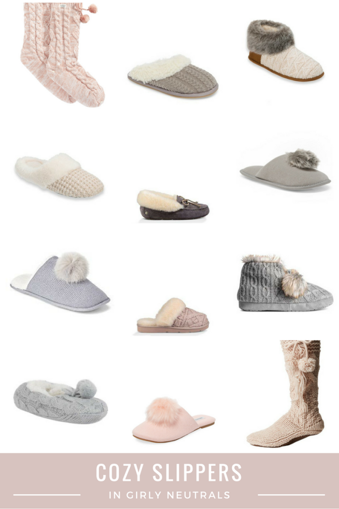 Cozy Slippers in girly neutrals - gift guide - fur, pom poms, ivory, grey, blush - From the Family With Love