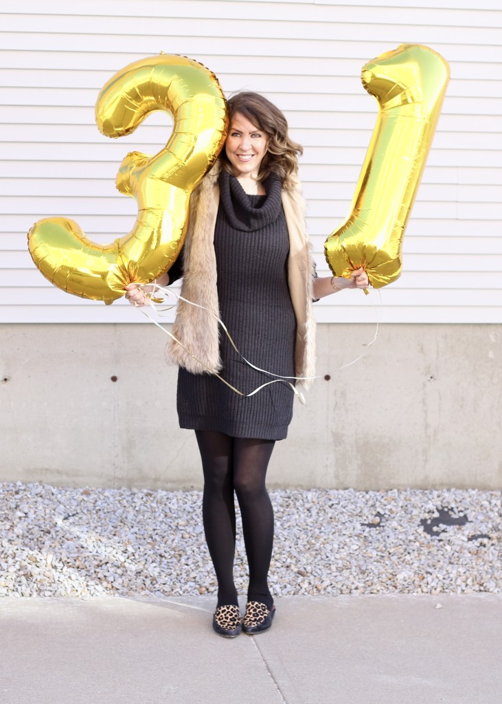 Happy Birthday to me - 31 things in 31 years - From the Family With Love - birthday gold number balloons